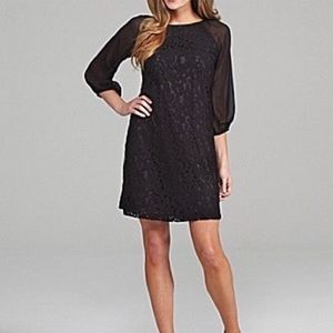 Adrianna Papell Black Lace Sheer Sleeve Dress 4